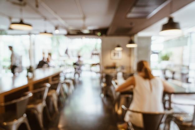 Resumo borrão e desfocado no café restaurante para plano de fundo