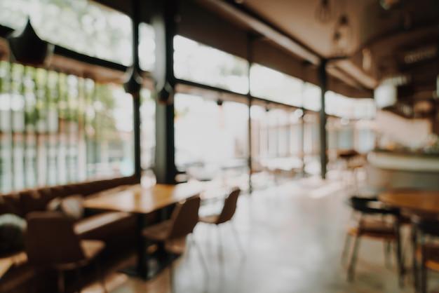 Resumo borrão e desfocado no restaurante e café para o fundo