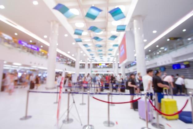 Resumo borrão terminal de aeroporto e salão interior para plano de fundo