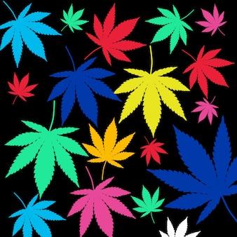 Resumo colorido cannabis médica deixa o plano de fundo padrão closeup extrema. renderização 3d