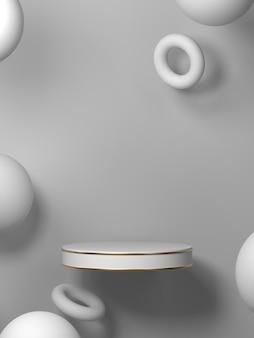 Resumo com pódio de forma geométrica para o produto. conceito mínimo. renderização em 3d