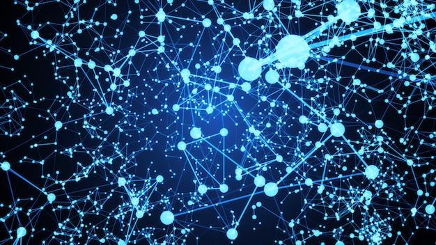 Resumo conectado pontos sobre fundo azul brilhante. conceito de tecnologia