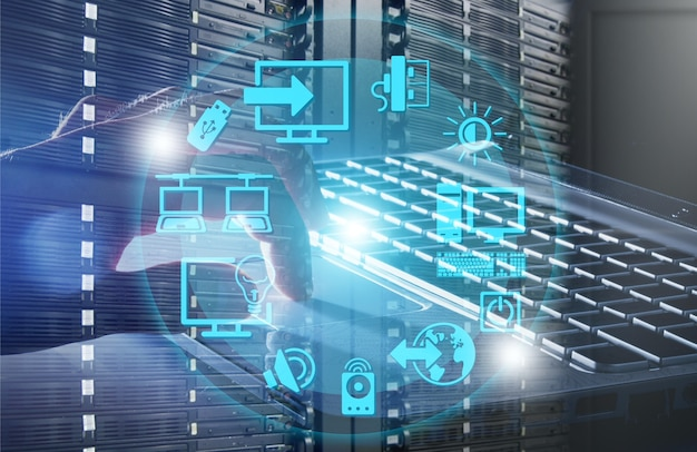 Resumo da moderna sala de data center de alta tecnologia da internet