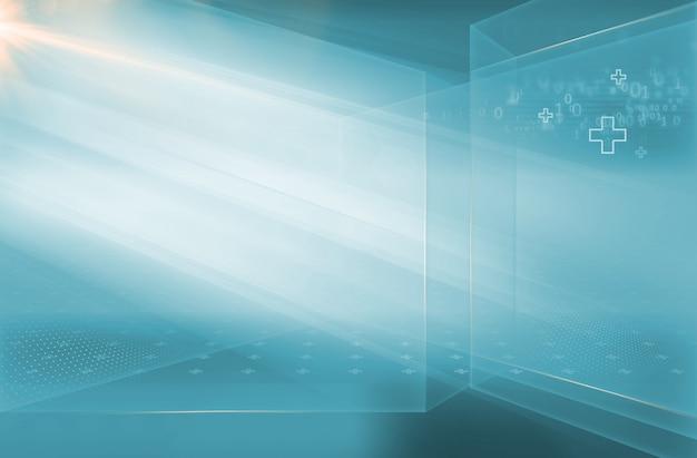 Resumo de alta tecnologia 3d espaço de notícias médicas com códigos binários