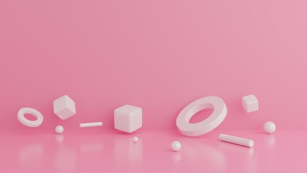 Resumo de formas geométricas. cena de parede rosa mínimo.