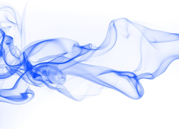 Resumo de fumaça azul sobre fundo branco, cor de água de tinta azul para design