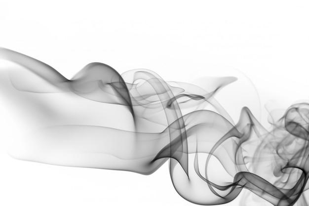 Resumo de fumaça preta tóxica sobre fundo branco