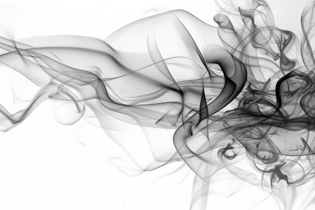 Resumo de fumo preto e branco sobre fundo branco