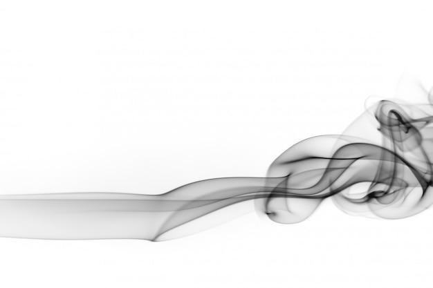 Resumo de fumo preto sobre fundo branco, design de fogo