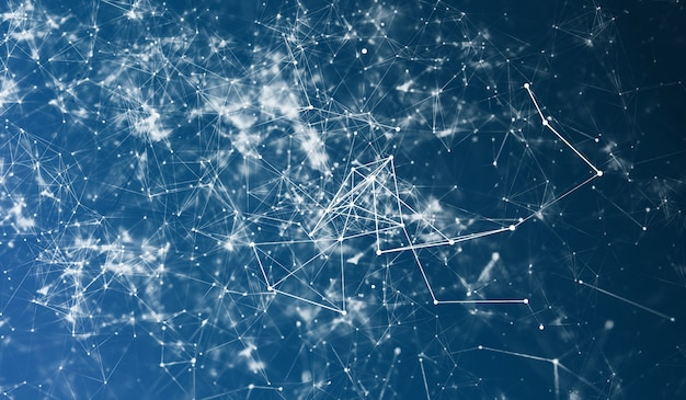 Resumo de fundo escuro de poliéster de espaço poligonal com pontos e linhas de conexão