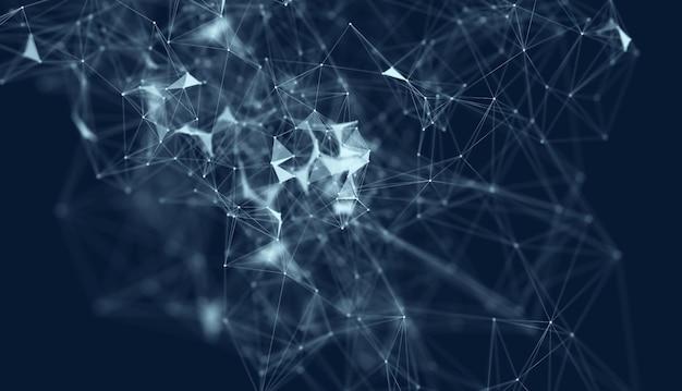Resumo de fundo escuro de poliéster poligonal com pontos e linhas de fundo de conexão