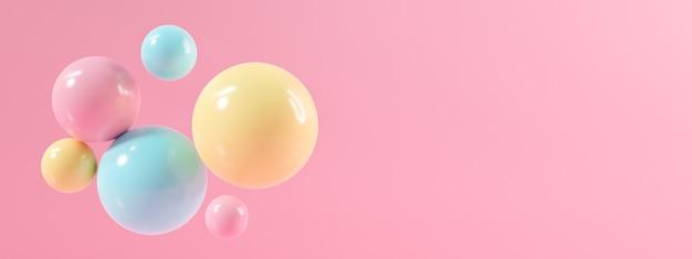 Resumo de fundo rosa 3d com esfera brilhante de bolas. design de renderização 3d.