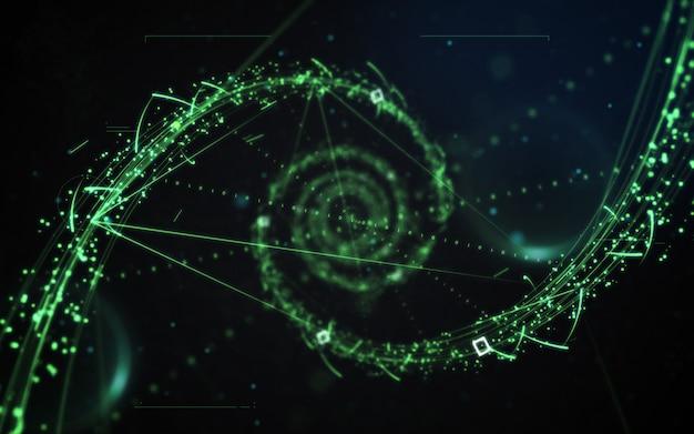 Resumo de luz de neon de partículas de ficção científica verde sobre fundo preto escuro