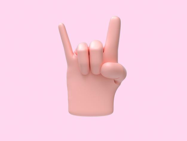 Resumo de mão dos desenhos animados cantar / símbolo fundo rosa renderização em 3d