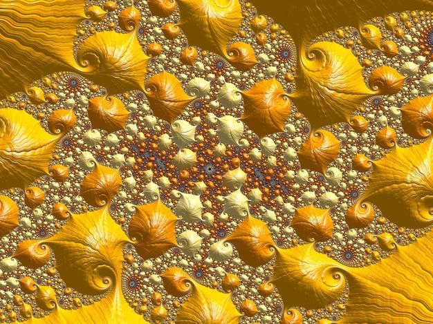 Resumo de ouro texturizado padrão fractal. 3d rendem.