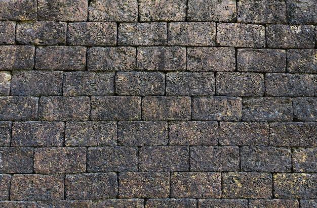 Resumo de padrão de fundo de textura de tijolo de grunge áspero / efeito de pedra vintage preto escuro de parede de tijolo velho