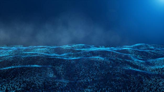 Resumo de partículas de cor azul digital e fundo de fumaça