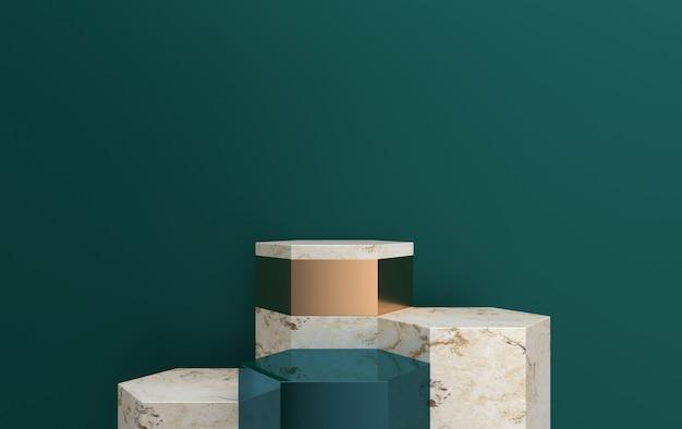 Resumo de pedestal cúbico, conjunto de grupos de forma geométrica, fundo de mármore, renderização em 3d, cena com formas geométricas, pedestal com detalhes de ouro, polígonos palco de mármore