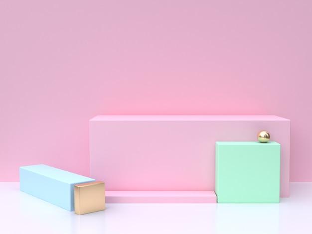 Resumo de renderização 3d rosa quadrado rosa