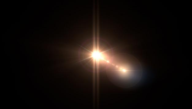 Resumo de sol com flare. fundo natural com luzes e sol