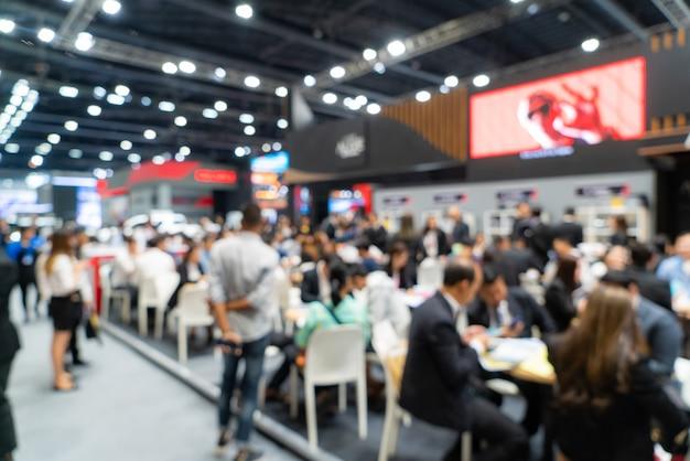 Resumo desfocado desfocado exposição evento exposição, mostra de convenções de negócios, feira de emprego, exposição de tecnologia.