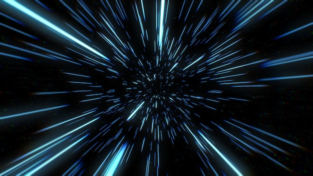 Resumo do movimento da urdidura ou hiperespaço na trilha da estrela azul. ilustração 3d do movimento de explosão e expansão