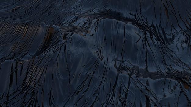 Resumo em preto. superfície ondulada escura fractal irregular dispersão topográfica paisagem artificial montanha