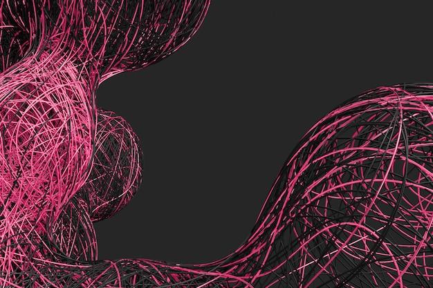 Resumo fundo escuro com a imagem de dividir bolas tecidas de uma variedade de linhas coloridas brilhantes