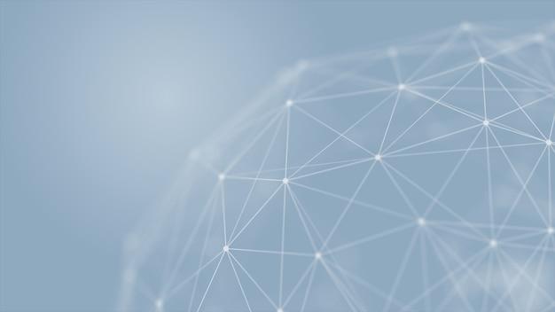 Resumo futurista com linhas de conexão. estrutura do plexo. conceito de ciência, negócios, comunicação, medicina, tecnologia, rede, cyber, ficção científica. renderização em 3d