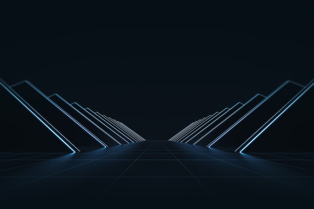Resumo futurista com luz de neon brilhante e linha de grade de fundo. estilo de tecnologia