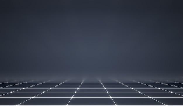Resumo futurista web com luz de neon brilhante e padrão de linha de grade em fundo escuro.