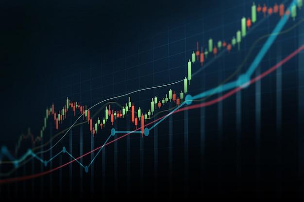 Resumo gráfico financeiro com gráfico de castiçal de linha de tendência no mercado de ações sobre fundo de cor azul