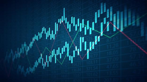 Resumo gráfico financeiro com número de ações e gráfico sobre fundo de cor azul