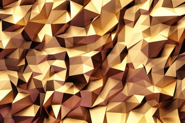 Resumo padrão geométrico com triângulos tridimensionais dourados.