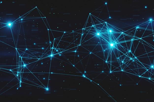Resumo piscando nós de dados digitais conectados e caminhos de conexão em qualquer tipo de ilustração 3d da rede