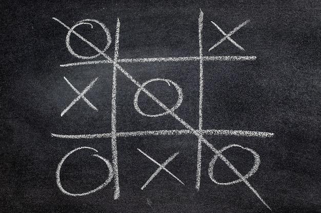 Resumo tic tac toe jogo competição. xo win challecge conceito no quadro negro
