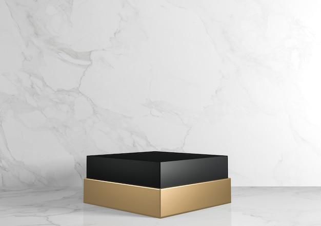 Retângulo quadrado preto e dourado pedestal branco para produtos cosméticos em fundo branco de granito. renderização 3d