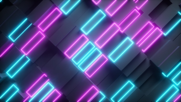 Retângulos abstratos brilhantes com elementos de néon