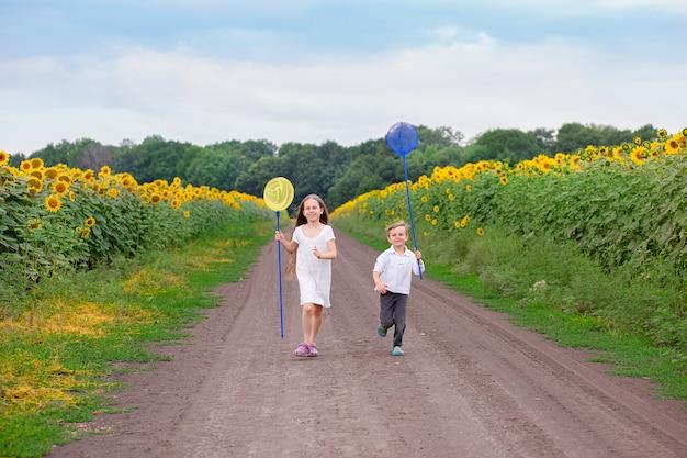 Retrato ao ar livre de crianças correndo com uma rede de borboletas ao longo da estrada.