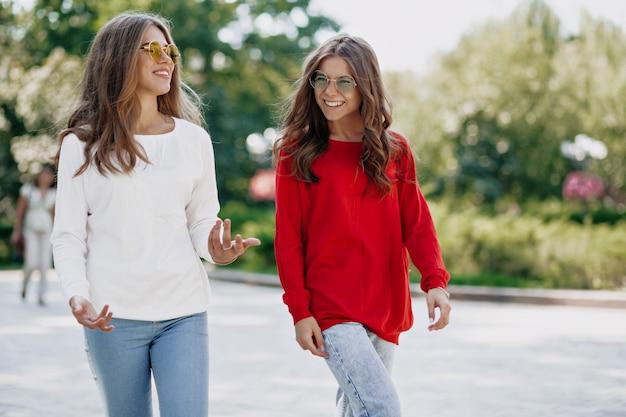 Retrato ao ar livre de duas irmãs elegantes andando depois de fazer compras. menina sorridente de cabelos compridos em óculos de sol brilhantes conversando e se divertindo na cidade