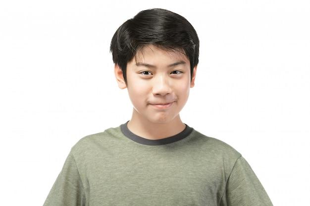 Retrato da boa criança asiática da vista isolada no branco.