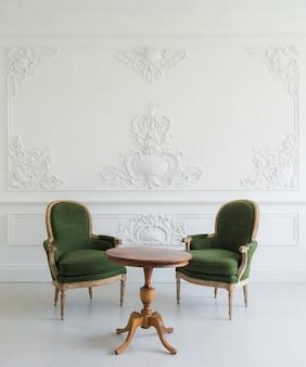 Retrato da mesa de toucador vintage com banquinho sobre elementos roccoco de molduras de estuque em baixo-relevo de design de parede