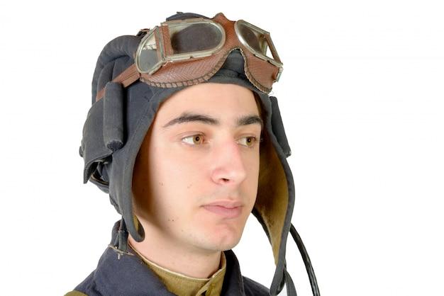 Retrato, de, a, soviético, tanque, motorista