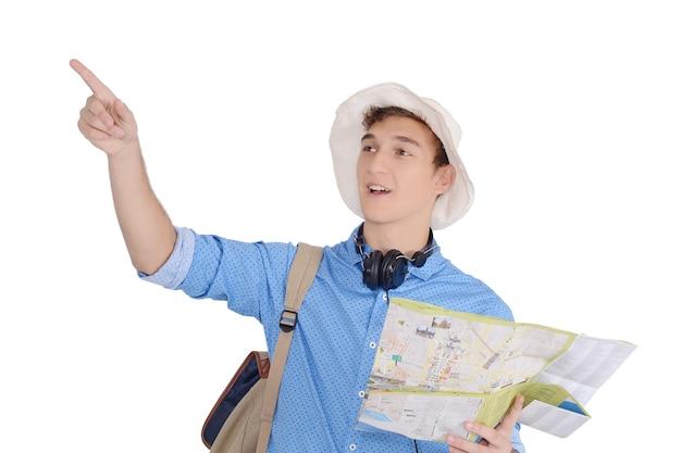 Retrato, de, adolescente, turist, viajando, com, mapa
