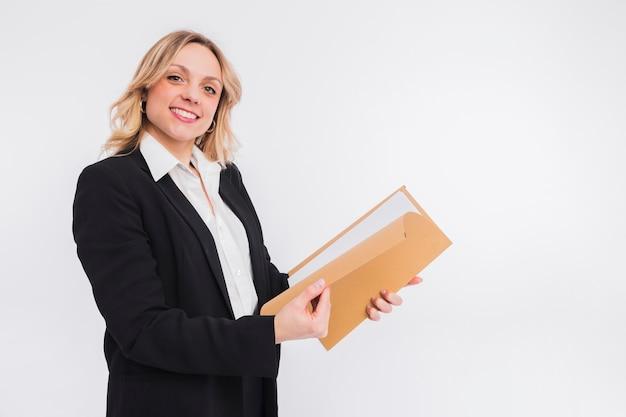 Retrato, de, advogado, mulher