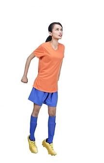 Retrato, de, asian, jogador futebol, mulher, em, ação