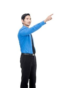 Retrato, de, asiático, homem negócios, apontar, algo, com, seu, dedo