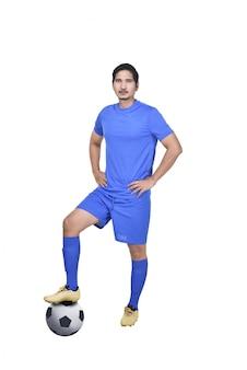 Retrato, de, asiático, jogador de futebol, com, bola