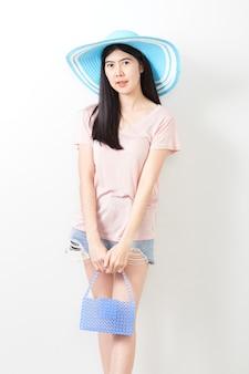 Retrato, de, asiático, jovem, menina bonita