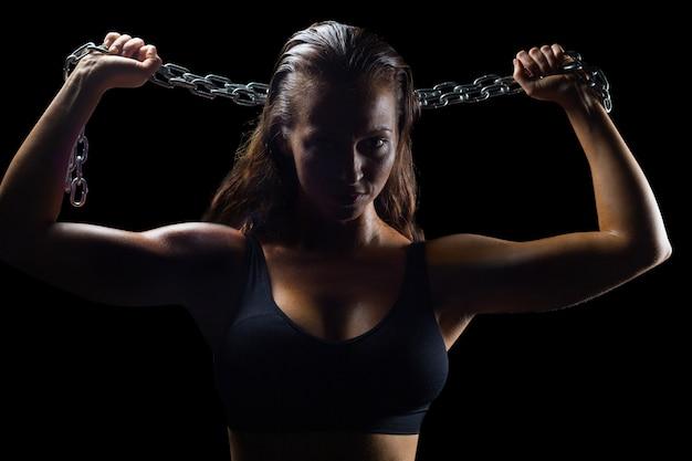 Retrato de atleta na cadeia de roupas esportivas